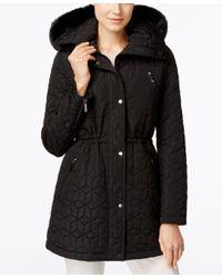 Calvin Klein   Black Water-resistant Faux-fur-trim Quilted Anorak Coat   Lyst