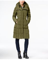 Cole Haan | Green Hooded Long Down Puffer Coat With Vestee | Lyst