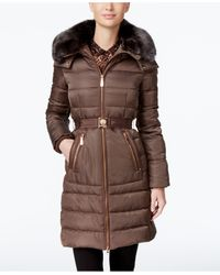 Vince Camuto | Brown Faux-fur-collar Belted Down Coat | Lyst