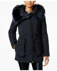 RACHEL Rachel Roy   Black Faux-fur-trim Hooded Anorak, Only At Macy's   Lyst