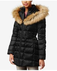 Betsey Johnson | Black Faux-fur-trim Hooded Lace-up Puffer Coat | Lyst