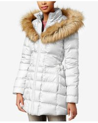 Betsey Johnson | White Faux-fur-trim Hooded Lace-up Puffer Coat | Lyst