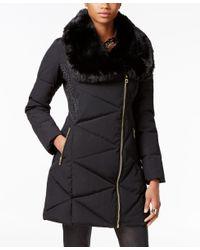 Guess | Black Asymmetrical Faux-fur-collar Puffer Coat | Lyst