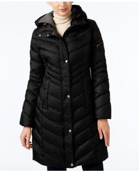 Marc New York | Black Chevron Hooded Down Coat | Lyst