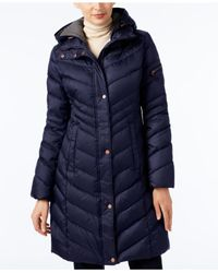 Marc New York | Blue Chevron Hooded Down Coat | Lyst