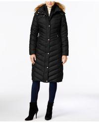 Marc New York - Black Faux-fur-trim Long Puffer Coat - Lyst