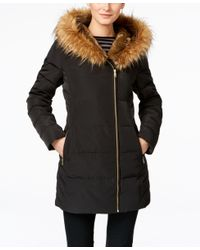 Cole Haan | Black Faux-fur-trim Asymmetrical Down Puffer Coat | Lyst