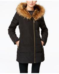 Cole Haan | Black Asymmetrical Faux-fur Down Puffer Coat | Lyst