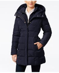 Cole Haan | Blue Hooded Down Puffer Coat | Lyst