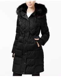 BCBGeneration | Black Faux-fur-trimmed Cinched-waist Puffer Coat | Lyst
