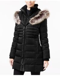 BCBGeneration   Black Mixed-media Quilted Puffer Coat   Lyst