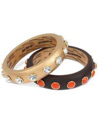 Betsey Johnson | Metallic Gold-tone 2-pc. Set Crystal Enhanced Bangle Bracelet | Lyst