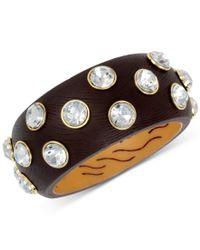Betsey Johnson - Metallic Gold-tone Wood-look Crystal Bangle Bracelet - Lyst