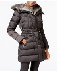 Laundry by Shelli Segal | Blue Faux-fur-trimmed Quilted Puffer Coat | Lyst