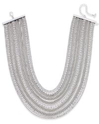 ABS By Allen Schwartz | Metallic Silver-tone Crystal And Chain Collar Necklace | Lyst