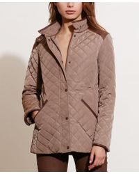 Lauren by Ralph Lauren | Brown Petite Diamond Quilted Jacket, Only At Macy's | Lyst