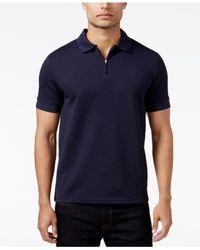Vince Camuto | Purple Men's Waffle-knit Quarter-zip Strech Polo for Men | Lyst