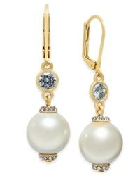 kate spade new york | Metallic Rose Gold-tone Pink Imitation Pearl Drop Earrings | Lyst