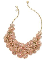 "kate spade new york | Metallic 18"" Gold-tone Imitation Pearl Floral Bib Necklace 