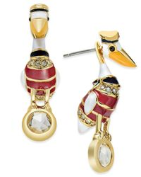 kate spade new york | Metallic Gold-tone Pelican Front And Back Earrings | Lyst