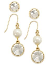 Charter Club | Metallic Gold-tone 2-pc. Set Crystal Studs And Pearl Drop Earrings, Only At Macy's | Lyst
