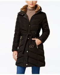 Cole Haan | Black Faux-fur-collar Belted Down Puffer Coat | Lyst