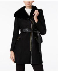 Via Spiga | Black Mixed-media Faux-fur Trim Hooded Walker Coat | Lyst