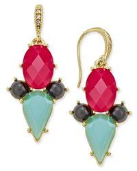 ABS By Allen Schwartz | Metallic Gold-tone Multi Crystal Drop Earrings | Lyst