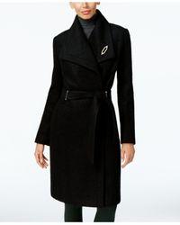 Ivanka Trump   Black Asymmetrical Walker Coat With Brooch   Lyst