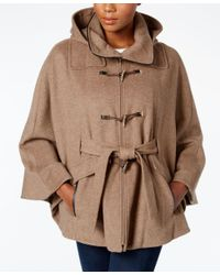 Calvin Klein | Brown Hooded Toggle Cape Coat | Lyst