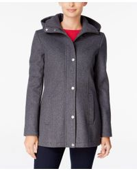 Tommy Hilfiger | Gray Hooded Peacoat, Only At Macy's | Lyst