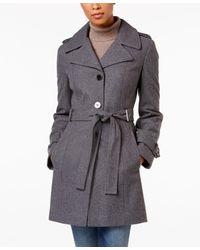Calvin Klein   Gray Belted Wool-blend Walker Coat   Lyst