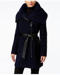 Cole Haan | Blue Faux-leather-trim Asymmetrical Bouclé Coat | Lyst