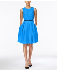 Calvin Klein - Blue Floral Lace Belted Fit & Flare Dress - Lyst