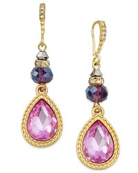INC International Concepts   Metallic Gold-tone Mauve Crystal Teardrop Drop Earrings, Only Macy's   Lyst