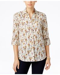Style & Co. - Multicolor Floral-print Shirt, Only At Macy's - Lyst