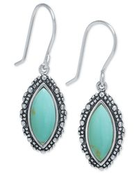 Macy's - Blue Manufactured Turquoise Marquise Drop Earrings In Sterling Silver - Lyst