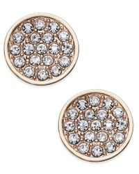 kate spade new york - Metallic Rose Gold-toned Pave Disc Stud Earrings - Lyst