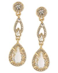 Carolee - Metallic Gold-tone Pave Framed Crystal Double Drop Earrings - Lyst