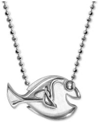 "Alex Woo | Metallic Sterling Silver ""finding Dory"" Dory Pendant Necklace 