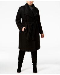 Ivanka Trump | Black Plus Size Asymmetrical Walker Coat With Brooch | Lyst