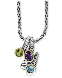 Effy Collection | Metallic Balissima By Effy Multi-gemstone Pendant Necklace (3-1/3 Ct. T.w.) In Sterling Silver And 18k Gold | Lyst