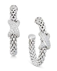 Macy's | Metallic Diamond Crisscross Mesh Hoop Earrings (1/4 Ct. T.w.) In Sterling Silver | Lyst