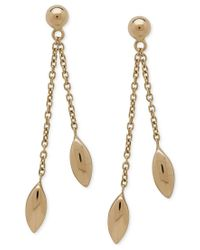 Macy's | Metallic Polished Marquise Drop Earrings 18k Gold | Lyst
