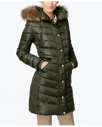 Michael Kors   Green Michael Faux-fur-trim Hooded Down Coat   Lyst