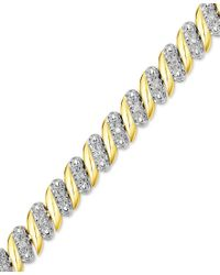 Macy's | Metallic Diamond (1/4 Ct. T.w.) Zig Zag Bracelet In 14k Gold-plated Sterling Silver | Lyst