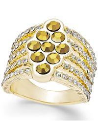 INC International Concepts   Metallic Rose Gold-tone Crystal Criss Cross Adjustable Ring   Lyst