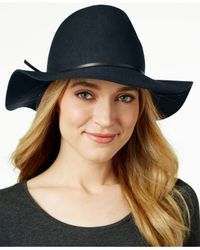 Nine West | Blue Pinched-crown Floppy Felt Hat | Lyst