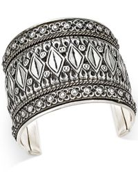 Macy's - Metallic Silver-tone Metalworked Cuff Bracelet - Lyst