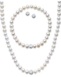 Macy's | White Sterling Silver Jewelry Set, Cultured Freshwater Pearl (7-7-1/2mm) And Crystal (8mm) Necklace, Bracelet And Earrings Set | Lyst